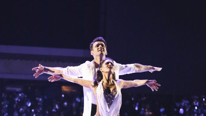 "This Monday, Nov. 26, 2012 publicity photo provided by ABC, shows Tony Dovolani and Melissa Rycroft in ""Dancing with the Stars: All-Stars"" - Episode 1510, as a competing couple in a Super-Sized Freestyle one-hour performance in which they were allowed to add extra performers, to incorporate all kinds of lifts and tricks to create an out-of-this-world entertaining routine on the ABC Television Network. Rycroft is a finalist for the ""Dancing with the Stars"" Mirror Ball Trophy on the ABC TV show Tuesday, Nov. 27, 2012. (AP Photo/ABC, Adam Taylor)"