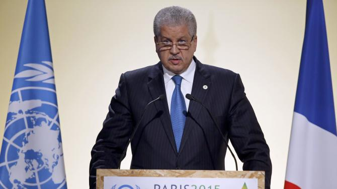 Algeria's Prime Minister Sellal delivers a speech for the opening day of the World Climate Change Conference 2015 (COP21) at Le Bourget, near Paris