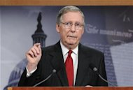 McConnell makes a point about his meeting with President Barack Obama about the country's debt ceiling, during a news conference at the Capitol in Washington