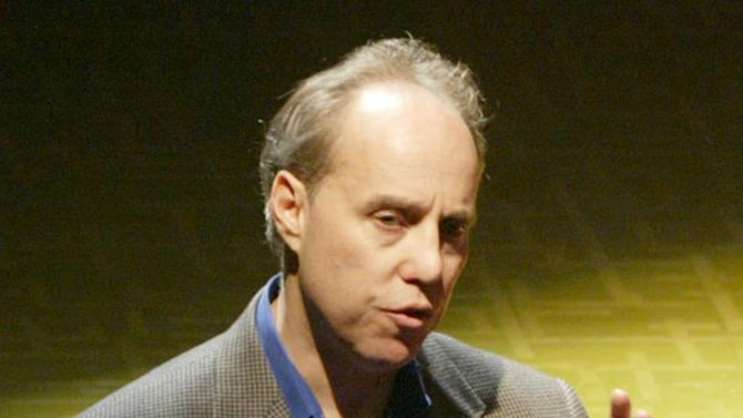 """FILE-- In this photo from Tuesday, April 13, 2004, Broadway producer Ben Sprecher speaks during a press conference in New York. Sprecher latest production, the psychological thriller """"Rebecca"""" collapsed this week and launched a FBI fraud investigation into the circumstances.  (AP Photo/Mary Altaffer, File)"""