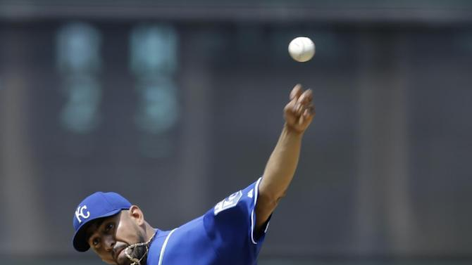 Kansas City Royals relief pitcher Franklin Morales delivers in the first inning of a baseball game against the Cleveland Indians, Wednesday, July 29, 2015, in Cleveland. (AP Photo/Tony Dejak)