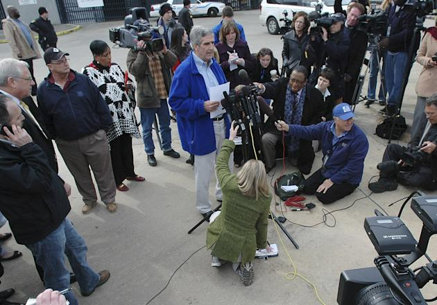 Terry Thornton, senior VP of Carnival Cruise Lines addresses the media outside the Alabama Cruise Terminal in Mobile, Ala. on Thursday, Feb. 14, 2013. After days stranded in the Gulf of Mexico in cond