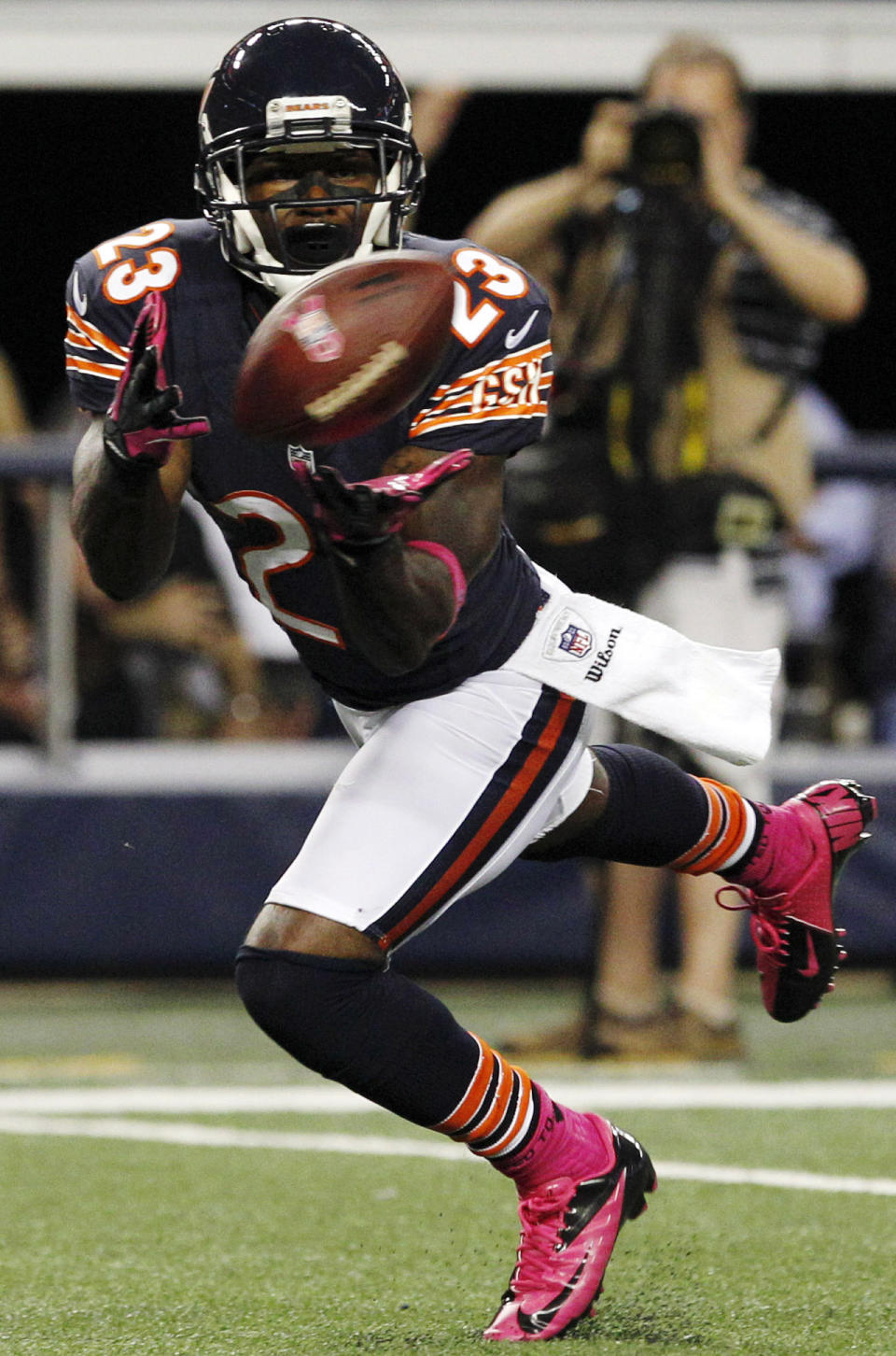 Chicago Bears wide receiver Devin Hester (23) makes a touchdown reception against the Dallas Cowboys during the second half of an NFL football game, Monday, Oct. 1, 2012, in Arlington, Texas. (AP Photo/LM Otero)