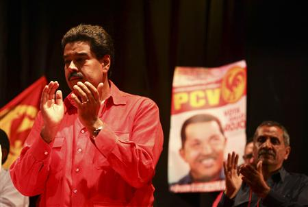 Acting Venezuelan President Nicolas Maduro arrives to a meeting with the Venezuelan Communist party (PCV) in Caracas
