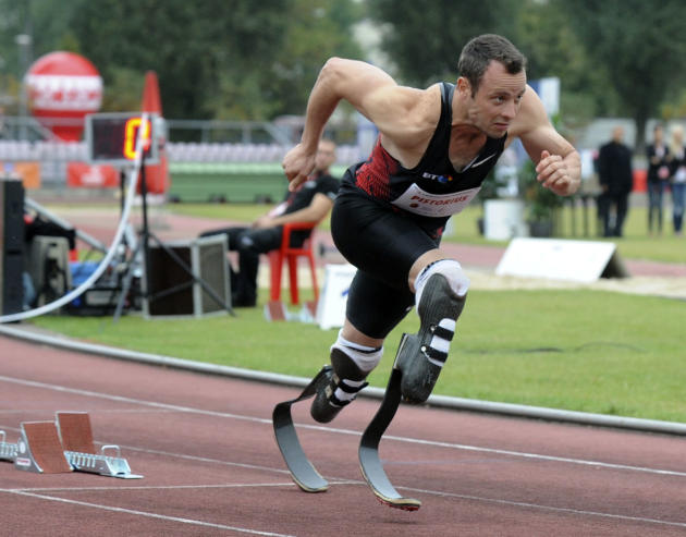 South Africa's Oscar Pistorius runs in the 400 metres event during the track and field meeting dedicated to the late Polish Olympic champion Kamila Skolimowska, in Warsaw, Poland, Tuesday, Sept. 20, 2