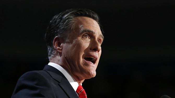 FILE - In this Aug. 30, 2012 file photo, Republican presidential candidate, former Massachusetts Gov. Mitt Romney speaks at the Republican National Convention in Tampa, Fla. The Republican convention sent Mitt Romney into the fall campaign on a high note, thanks to Romney's strong acceptance speech, a diverse tableau of speakers and a fractious party unified in its goal of defeating President Barack Obama. But the convention likely won't provide a lasting boost for the Republican ticket, thanks to Hurricane Isaac, some high-profile speech flops and continued questions over how the party would tackle issues like Medicare and spending cuts. (AP Photo/Jae C. Hong, File)