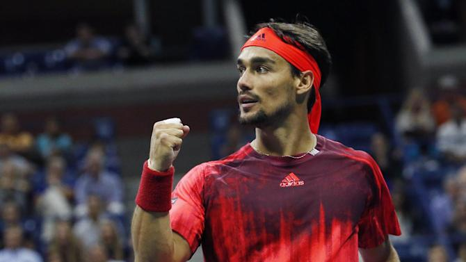 Fabio Fognini, of Italy, reacts after taking a point from Rafael Nadal, of Spain, during the U.S. Open tennis tournament in New York, Friday, Sept. 4, 2015. (AP Photo/Julio Cortez)