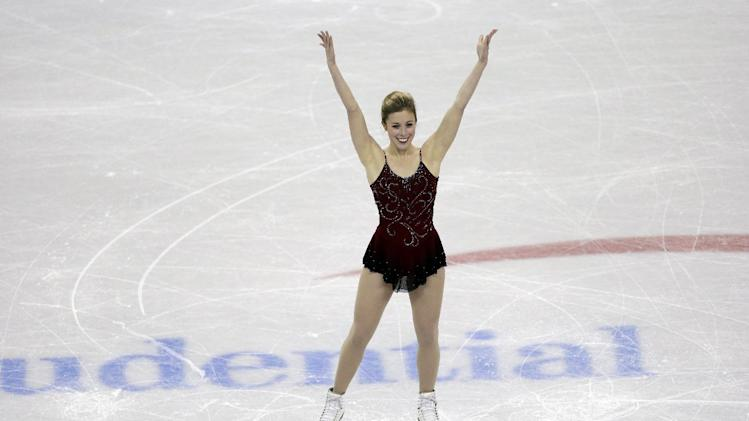 Ashley Wagner reacts after competing in the senior ladies short program at the U.S. figure skating championships, Thursday, Jan. 24, 2013, in Omaha, Neb. (AP Photo/Charlie Neibergall)