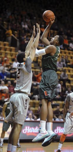 Larkin leads No. 14 Miami past Virginia Tech 73-64