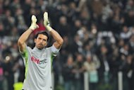 Juventus goalkeeper Gianluigi Buffon celebrates at the end of the Italian Serie A football match between Juventus and Inter Milan on Sunday