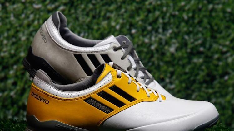 "Adidas golf shoes ""Adizero"" are pictured during the company's annual news conference in Herzogenaurach"