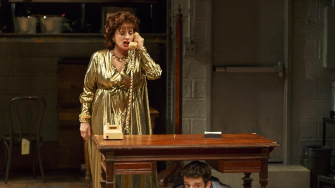 "This 2015 photo provided by Lincoln Center Theater and Philip Rinaldi Publicity shows, Patti Lupone, left, and Michael Urie, in a scene from Douglas Carter Beane's new play, ""Shows for Days,"" currently performing at the Mitzi E. Newhouse Theater in New York.  (Joan Marcus/Philip Rinaldi Publicity via AP)"