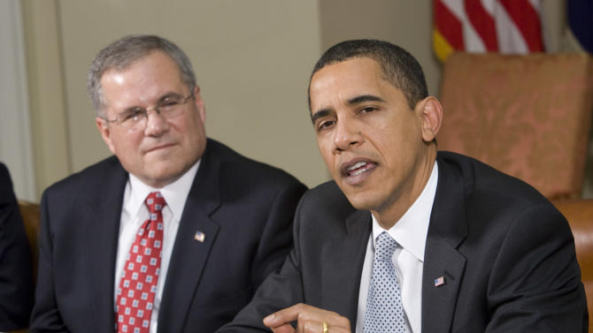 FILE - In this March 30, 2009 file photo, US President Barack Obama meets with then U.S. Envoy for Sudan Major General J. Scott Gration in the Roosevelt Room of the White House in Washington. The U.S. ambassador to Kenya Scott Gration said Friday, June 29, 2012 that he is leaving his post over differences with Washington on his leadership style, adding that he resigned Monday, June 25, 2012, effective Saturday, July 28, 2012. (AP Photo/Evan Vucci, File)