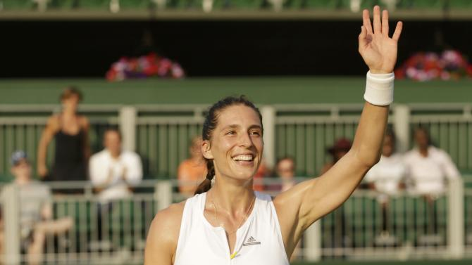 Andrea Petkovic of Germany celebrates after winning her match against Mariana Duque-Marino at the Wimbledon Tennis Championships in London