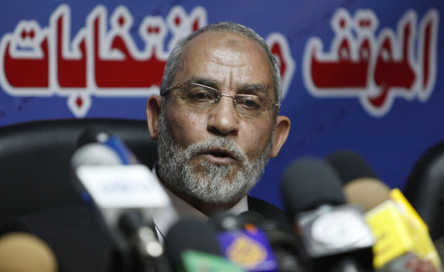 FILE - In this Saturday, Oct. 9, 2010 file photo, Mohammed Badie speaks during a press conference at the group&#39;s parliamentary office in Cairo, Egypt. A leading Jewish organization is calling Saturday, Oct. 13, 2012 on the White House to cut contacts with Egypt&#39;s most powerful political movement, the Muslim Brotherhood, over anti-Semitic remarks attributed to its spiritual guide. Mohammed Badie said that Jews were spreading &quot;corruption,&quot; had slaughtered Muslims and profaned holy sites, according to comments published on the group&#39;s website and emailed to reporters. He further called on Muslims to fight Israel, saying Zionists only understood force. (AP Photo/Nasser Nasser, File)