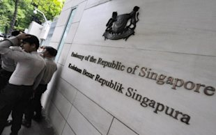 The Singapore embassy in Jakarta. (AFP photo)