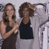 Mariah Carey and singer Whitney Houston attend the 15th Annual MTV Video Music Awards, Universal Ampitheater, Universal City, on September 10, 1998 -- Getty Premium