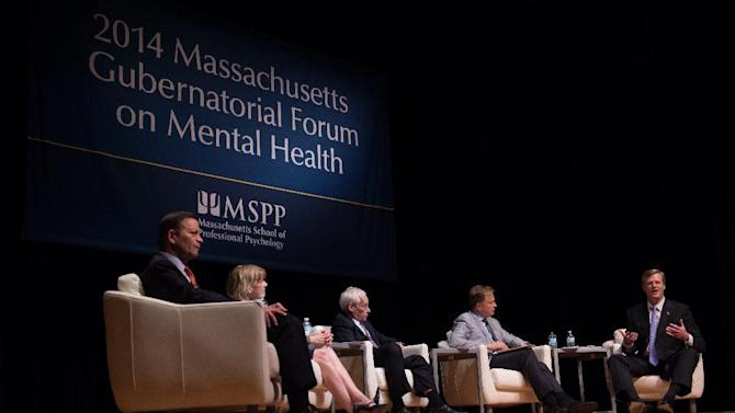 The 2014 Massachusetts Gubernatorial Forum on Mental Health in Boston, Wednesday, June 25, 2014, sponsored by The Massachusetts School of Professional Psychology. The intent of the forum was to create a dialogue around issues of mental health, focusing on veterans, teen suicide, the social impact of casino and marijuana legalization, and mental health care. Gretchen Ertl/AP Images for Massachusetts School of Professional Psychology.