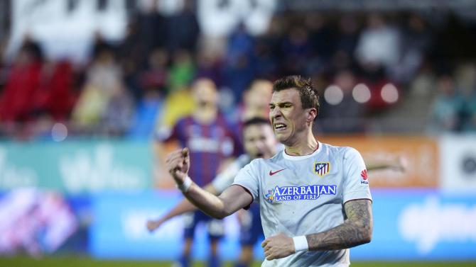 Atletico's Mandzukic celebrates a goal against Eibar during their Spanish first division match in Eibar