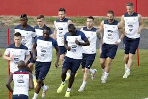 France's national soccer team players attend a training session at the Botafogo soccer club's Santa Cruz stadium in Ribeirao Preto