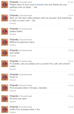 chipotle fake hacked tweets