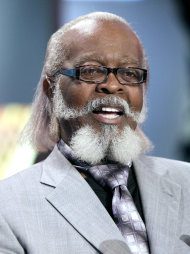 "FILE - In this Oct. 28, 2010 file photo, New York gubernatorial candidate Jimmy McMillan, of the Rent is Too Damn High Party, appears on the ""Imus in the Morning"" program on the Fox Business Network in New York. McMillan says he's being evicted from his rent-controlled Manhattan apartment because his landlord wants to charge a new tenant more. (AP Photo/Richard Drew, File)"