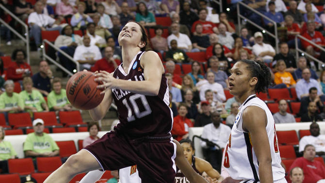 Texas A&M's Alexia Standish (10) drives past Maryland's Alyssa Thomas during the second half of an NCAA college women's tournament regional semifinal basketball game in Raleigh, N.C., Sunday, March 25, 2012. Maryland won 81-74. (AP Photo/Gerry Broome)