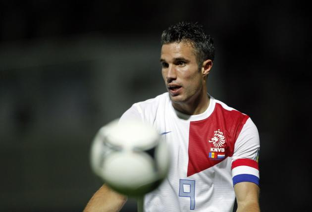 Netherlands's Van Persie gestures during their World Cup qualifying round soccer match against Andorra in Andorra