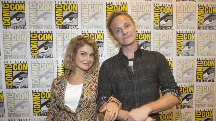 "Cast members McIver and Anders pose at a press line for ""iZombie"" during the 2014 Comic-Con International Convention in San Diego"