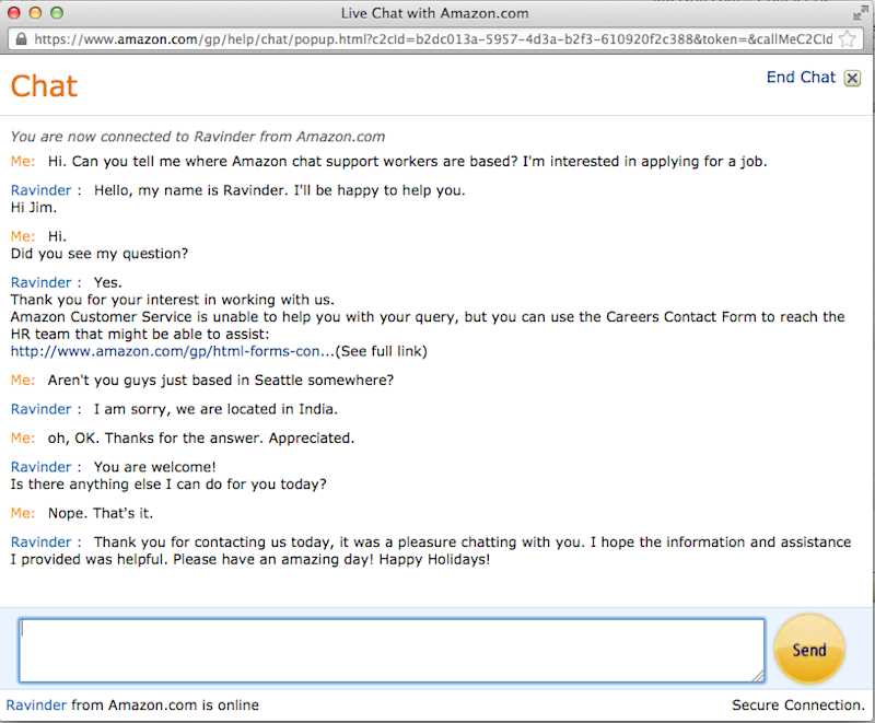 Amazon chat support