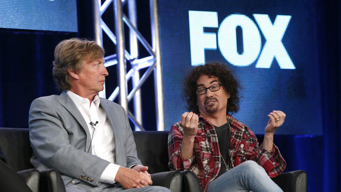 """Producers Nigel Lythgoe and Fox's President of Alternative Entertainment Mike Darnell from """"American Idol"""" attend the Fox Winter TCA Tour at the Langham Huntington Hotel on Monday, Jan. 7, 2013, in Pasadena, Calif. (Photo by Todd Williamson/Invision/AP)"""