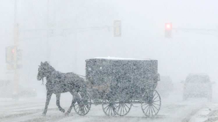 An Amish buggy turns onto U.S. Highway 2 in Fosston, Minn. as a winter storm begins on Wednesday, Nov. 24. The National Weather Service on Wednesday issued a batch of winter weather advisories, watches and warnings for North Dakota and South Dakota through Thursday morning and a storm is expected to drop 6 to 8 inches of snow in northern Minnesota by Wednesday night.  (AP Photo/Grand Forks Herald, Eric Hylden)