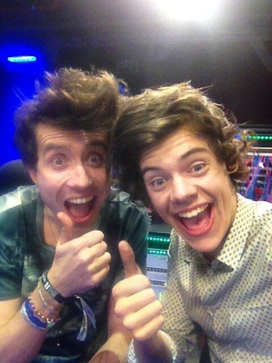 Backstage at the BRITs: Nick Grimshaw and Harry Styles spent the entire night partying away, with Harry Styles staying over at Nick's house and going into work with him the next morning. They laughed