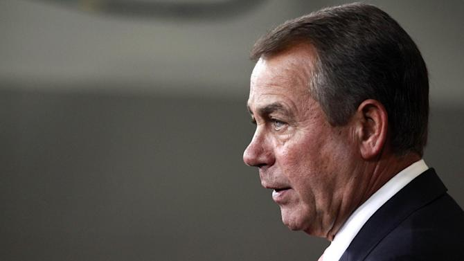 House Speaker John Boehner of Ohio speaks during his weekly news conference on Capitol Hill in Washington, on Thursday, April 26, 2012. (AP Photo/Jacquelyn Martin)