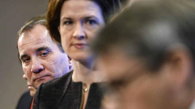 Sweden's PM Lofven and Moderate Party leader-elect Batra during a news conference at the Swedish Parliament in Stockholm