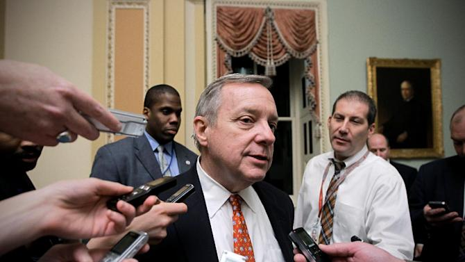 FILE - In this Dec. 16, 2011 file photo, Senate Majority Whip Richard Durbin of Ill. speaks with reporters on Capitol Hill in Washington. Florida Sen. Marco Rubio's push for a Republican version of immigration legislation could be the answer to GOP election-year prayers. The telegenic son of Cuban exiles and potential vice presidential pick is putting together a bill that would allow young illegal immigrants to study and work in the United States but still deny them citizenship. (AP Photo/J. Scott Applewhite, File)