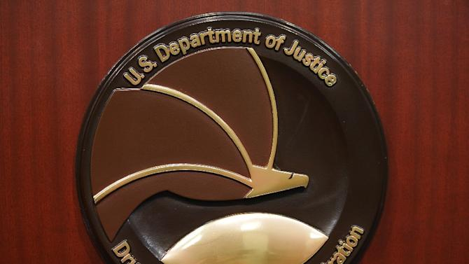 The seal of the Drug Enforcement Administration is seen on a lectern before the start of a press conference at DEA Headquarters on June 26, 2013 in Arlington, Virginia