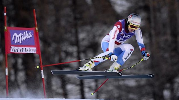 Switzerland's Marianne Kaufmann-Abderhalden competes to win the FIS Alpine World Cup Women's Downhill (AFP)