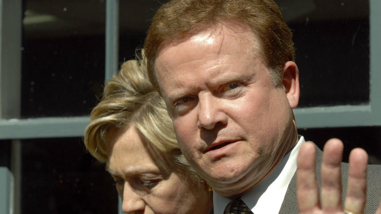 """FILE - In this Tuesday, Oct. 3, 2006 file photo, Virginia Democratic candidate for U.S. Senate, Jim Webb, right, answers questions during a news conference with Sen. Hillary Clinton, D-N.Y., in Alexandria, Va. Democrats with presidential dreams for 2016 are coming to Iowa in 2014 with little fanfare, entourage or recognition. They are undeterred by talk of a Clinton candidacy or her plans to visit the leadoff caucus state in September 2014 to honor retiring Sen. Tom Harkin. """"I'm here to listen to people and think about things,"""" Webb said during a visit to Iowa on Thursday, Aug. 21, 2014. (AP Photo/Kevin Wolf)"""