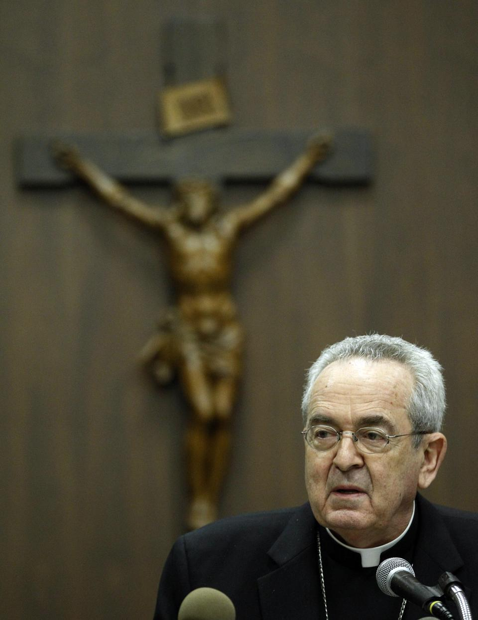 Cardinal Justin Rigali makes remarks during a news conference Tuesday, July 19, 2011, in Philadelphia.  The Vatican on Tuesday named Chaput as Rigali's successor as Archbishop of Philadelphia. (AP Photo/Matt Rourke)