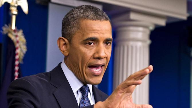 President Barack Obama talks about the economy, Friday, June 8, 2012, in the briefing room of the White House in Washington.   (AP Photo/J. Scott Applewhite)