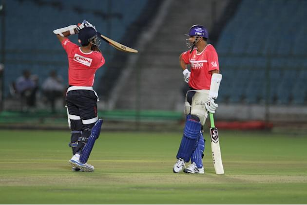 Rajasthan Royals' Ajinkya Rahane and Rahul Dravid at a night practice match at Sawai Mansingh Stadium in Jaipur on Saturday