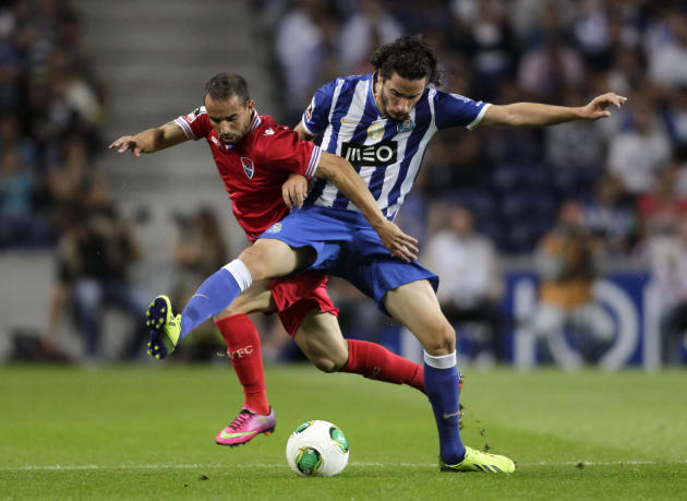 Porto's Lica battles for the ball with Gil Vicente's Gabriel during their Portuguese Premier League match in Porto