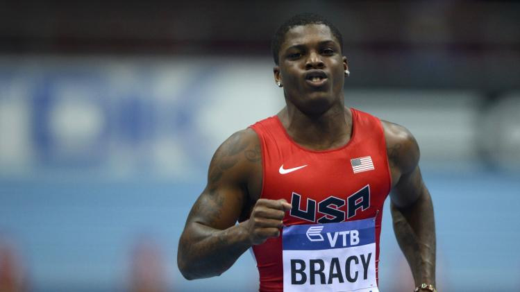 Bracy of the U.S. competes in men's 60m heats at world indoor athletics championships in Sopot