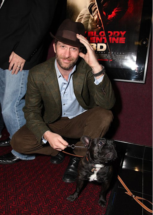 "Thomas Jane and dog Mightie Louis at the Los Angeles Special Screening of Lionsgate's ""My Bloody Valentine 3D"" on January 08, 2008 at the Mann's Chinese Six in Los Angeles, California."