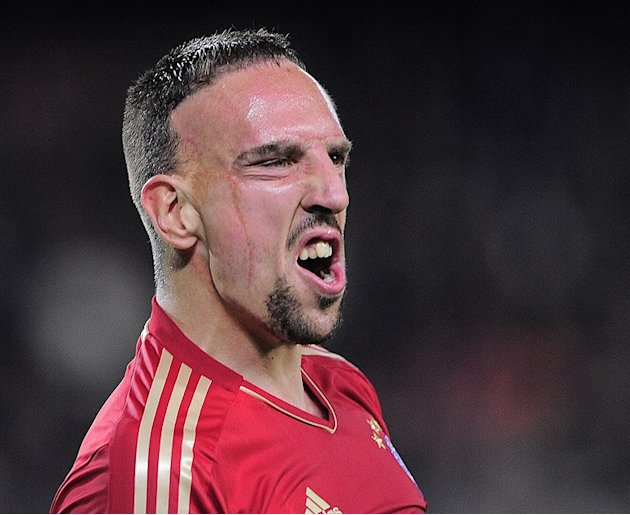 Bayern Munich's Franck Ribery celebrates the Champions League semi-final victory over Barcelona on May 22, 2013