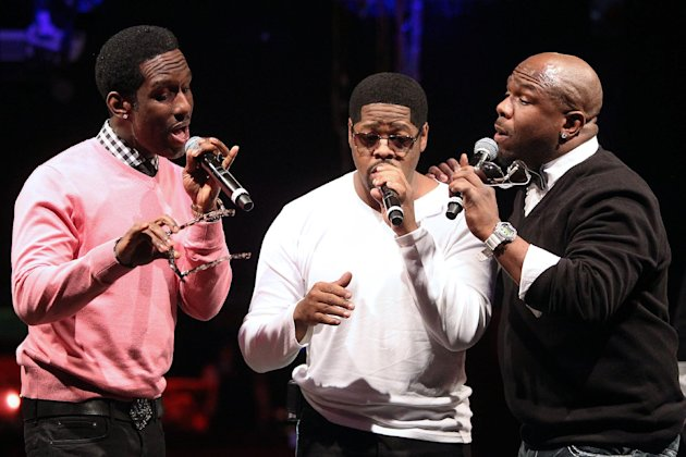 "In this picture provided by Starpix, from left, Shawn Stockman, Nathan Morris, Wanya Morris of Boyz II Men perform during the announcement of ""The Package Tour"", Tuesday, Jan. 22, 2013 in New York. The major summer tour will feature New Kids on the Block, 98 Degrees and Boyz II Men. (AP Photo/Starpix, Kristina Bumphrey)"