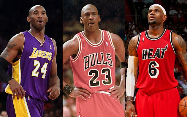 Kobe Bryant, Michael Jordan, LeBron James (Getty Images)