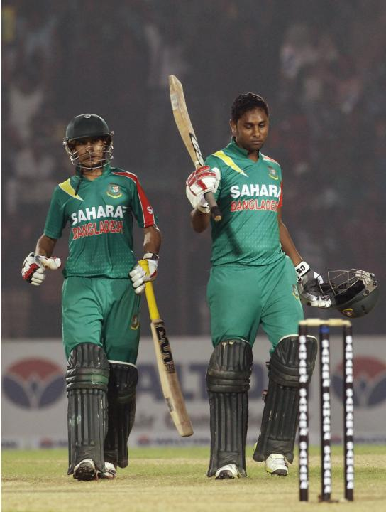 Bangladesh's Nasir Hossain and Sohag Gazi celebrates after Bangladesh whitewashed New Zealand in their One-day International (ODI) cricket series in Narayanganj.