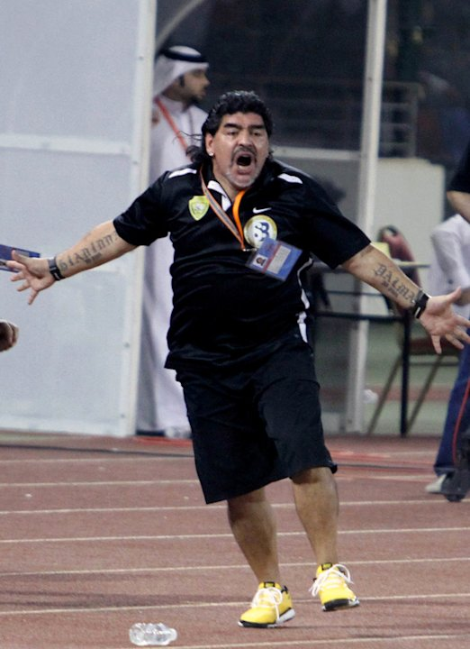 UAE's Al-Wasl Club Coach Diego Maradona Celebrates  AFP/Getty Images